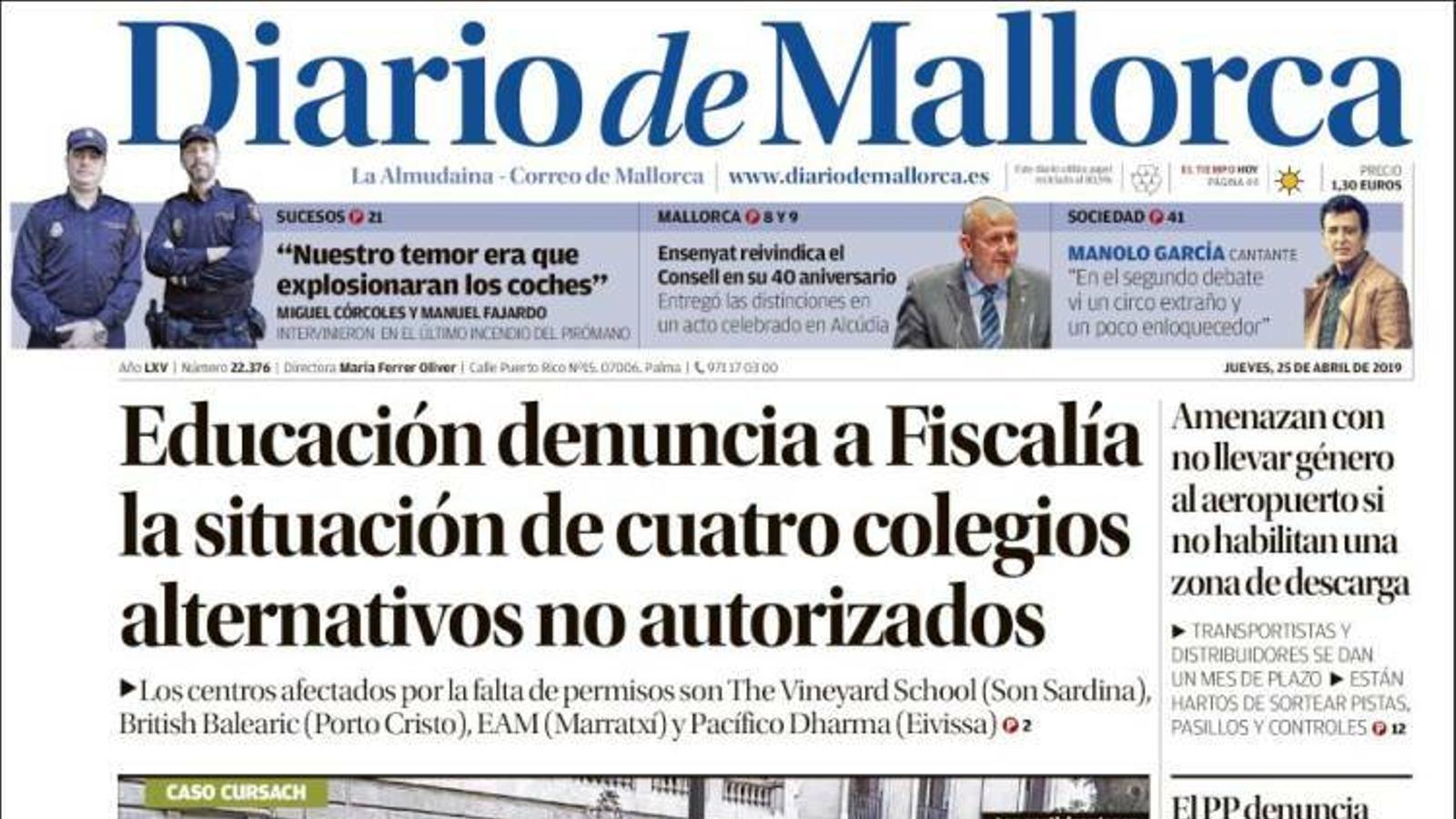 """""""Educació denuncia a Fiscalia la situació de quatre col·legis alternatius no autoritzats"""",  portada de 'Diario de Mallorca'"""