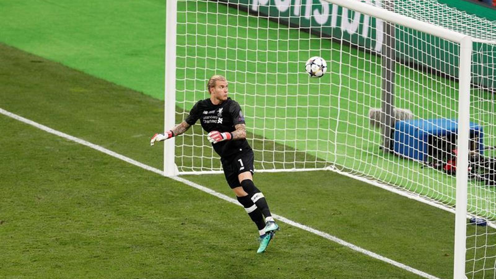 Karius, fallant al tercer gol del Liverpool