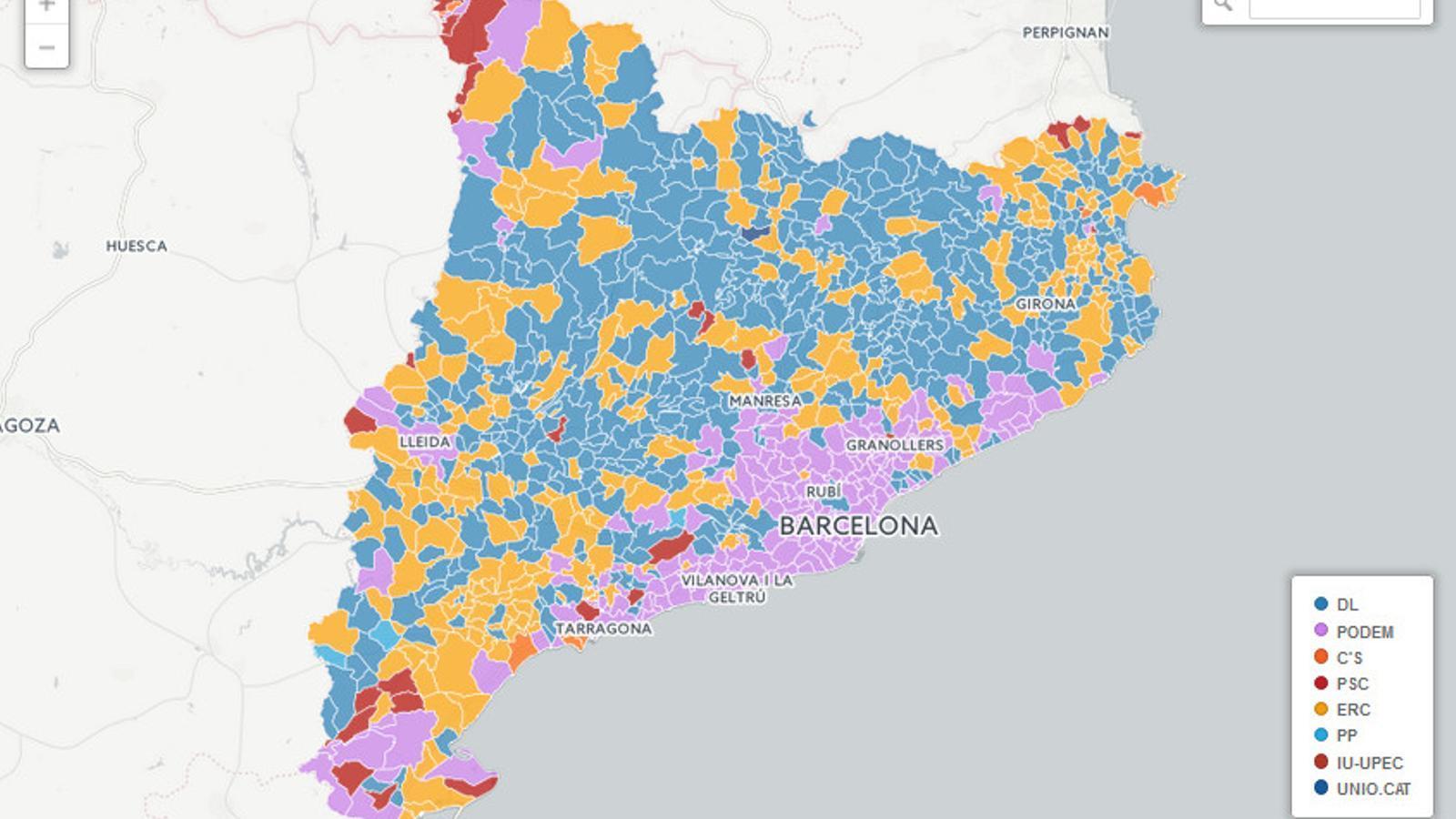 Mapa Interactiu Municipis Catalunya.Mapa Dels Resultats Electorals Del 20 D A Catalunya Municipi Per Municipi