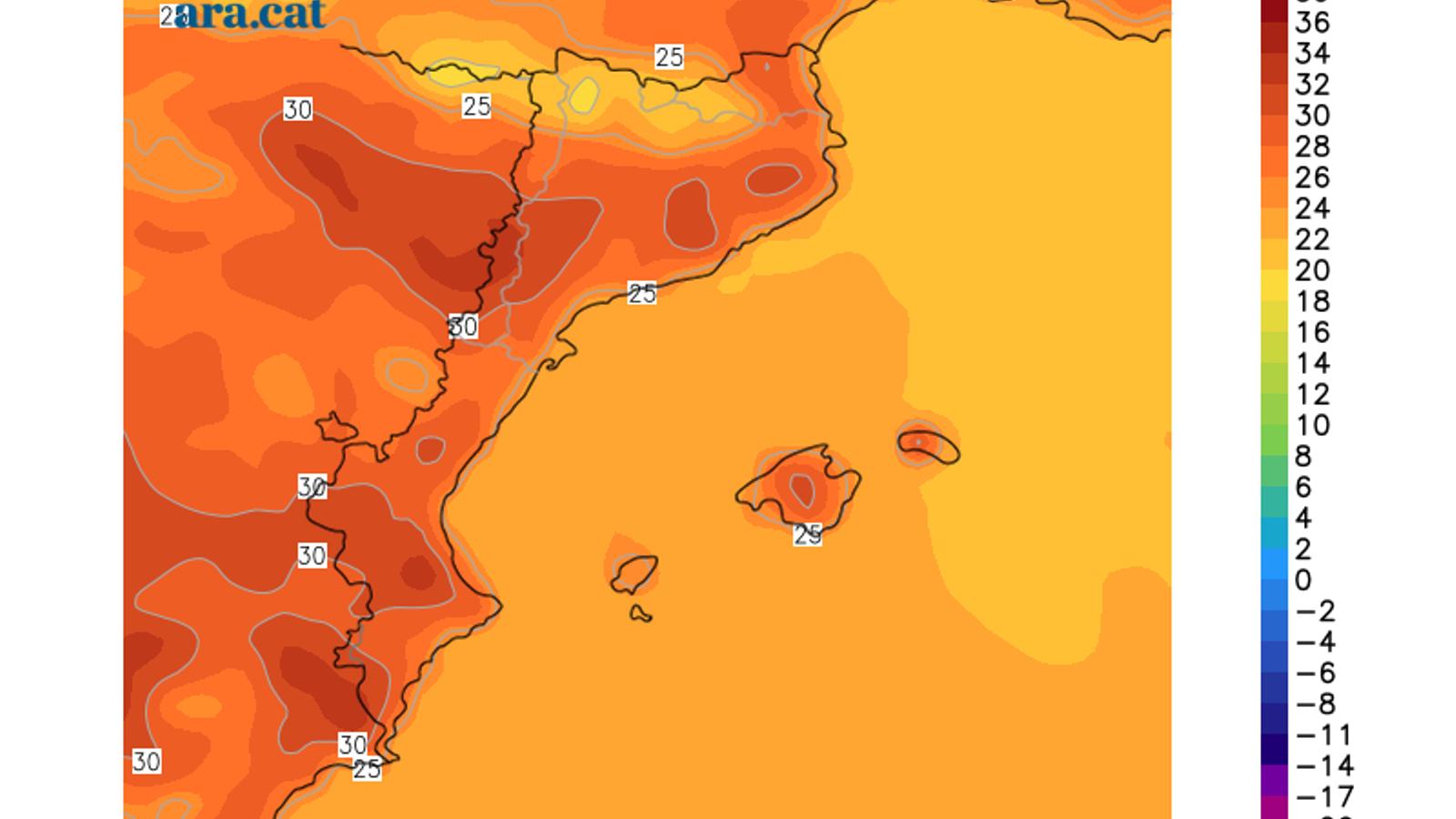 Temperatura màxima prevista per aquest divendres