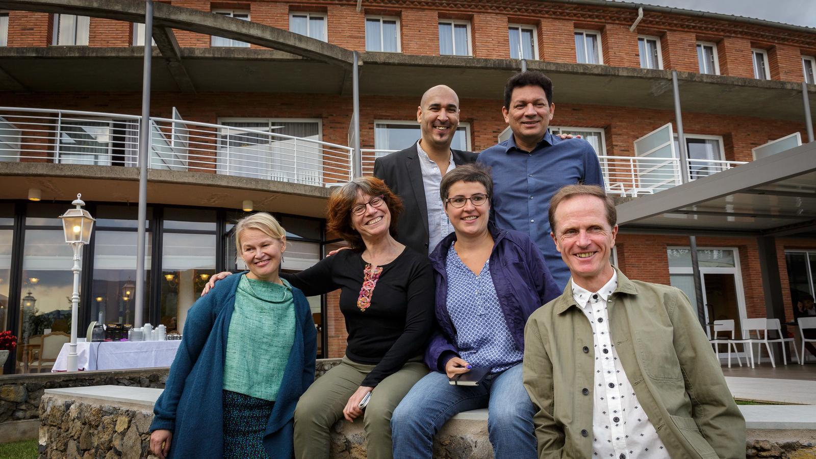 Els sis primers autors de la residència Faber d'Olot