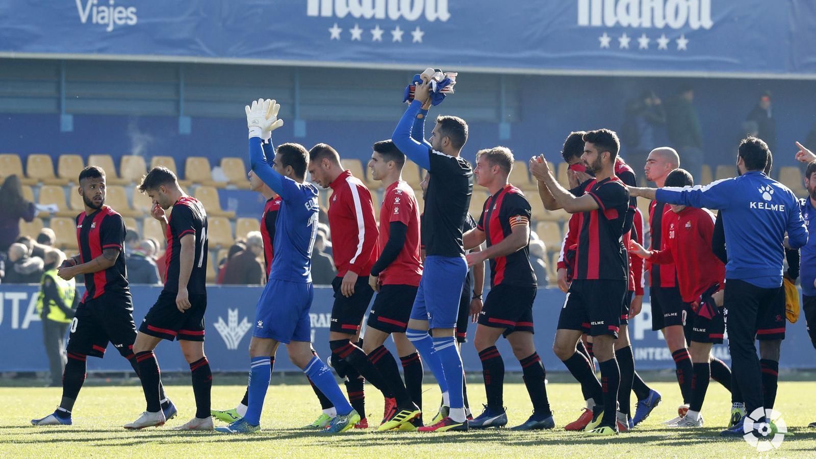 Els jugadors dels Reus després del partit contra l'Alcorcón.