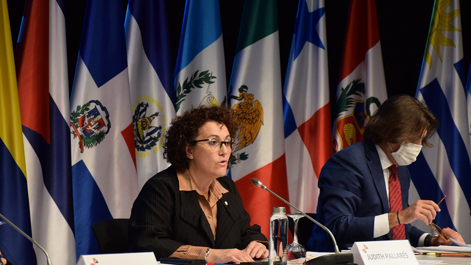 La ministra de Funció Pública i Simplificació de l'Administració, Judith Pallarés, durant la seva intervenció a la XIX Conferència iberoamericana de ministres d'Administració Pública i Reforma de l'Estat. / M. F. (ANA)