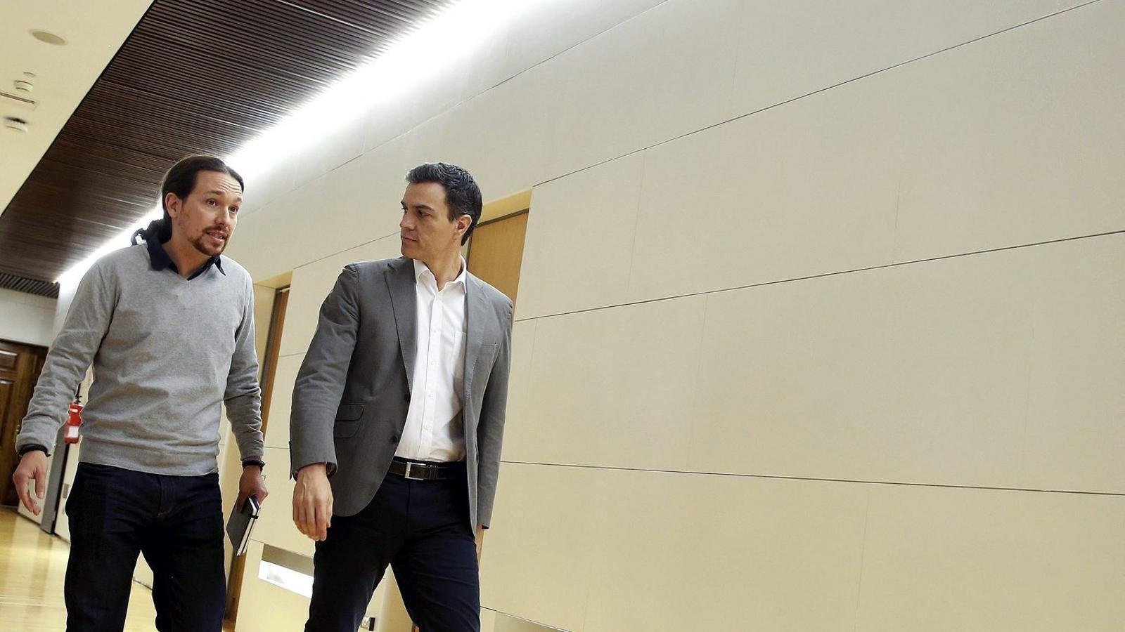 Els líders de Podem, Pablo Iglesias, i del PSOE, Pedro Sánchez, en una imatge recent.