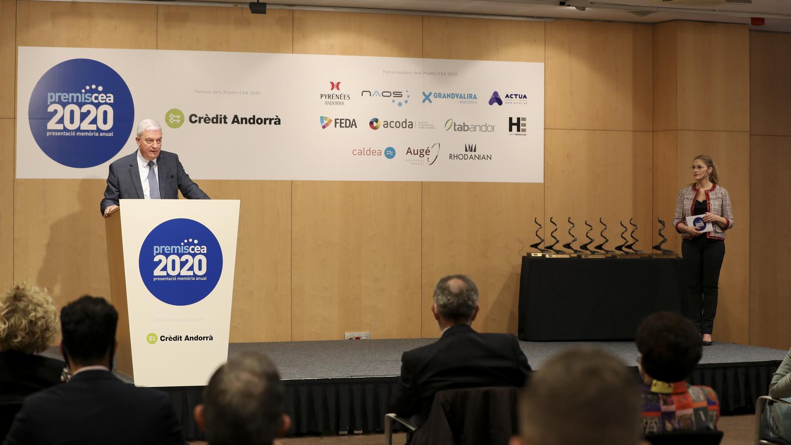 Gerard Cadena, durant la seva intervenció en l'acte de lliurament dels premis. / DONASECRET-CDP