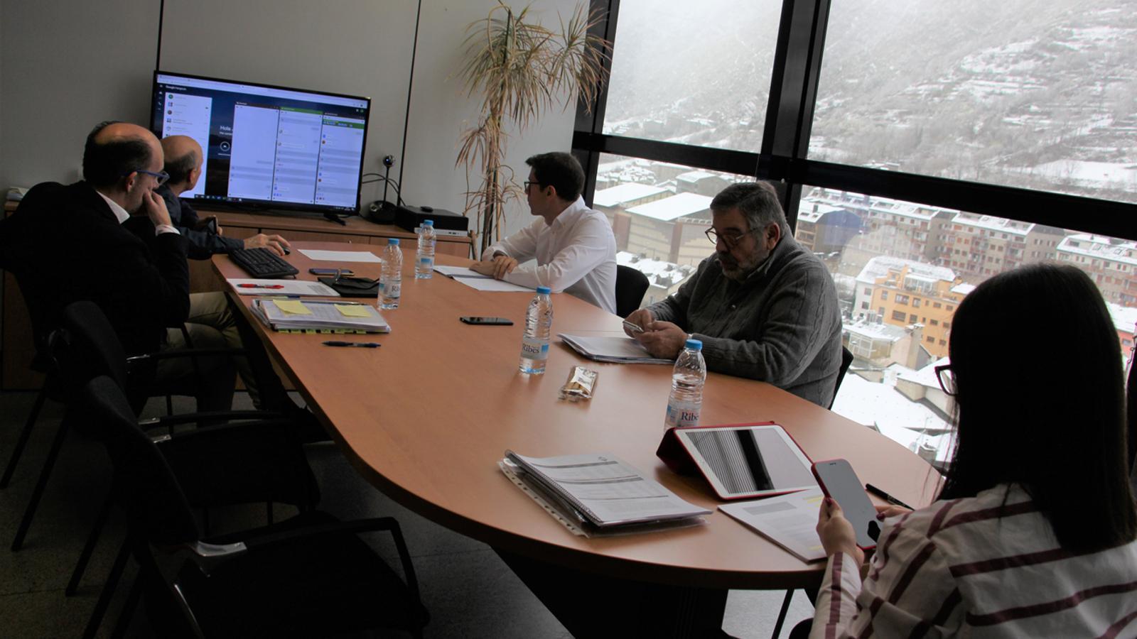 Un moment de la sessió per videoconferència que s'ha celebrat del comú d'Encamp. / COMÚ D'ENCAMP