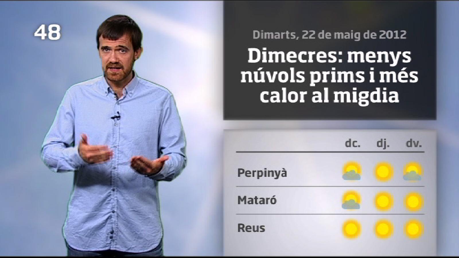 La méteo en 1 minut: calor d'estiu al centre de la setmana (23/05/2012)
