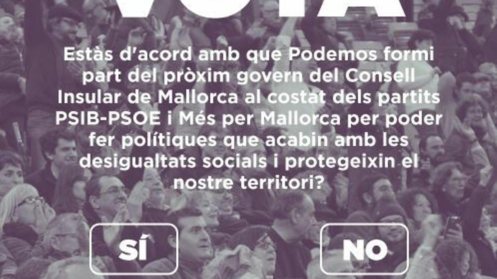 Les bases de Podem aproven els acord per entrar als Consells de Mallorca i Menorca