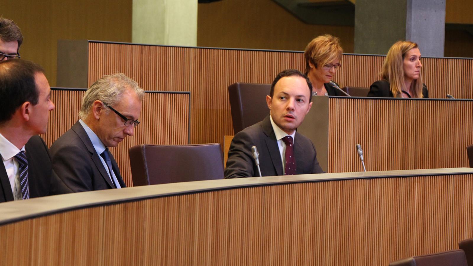 El ministre d'Afers Socials, Justícia i Interior, Xavier Espot, durant la sessió d'aquest dijous