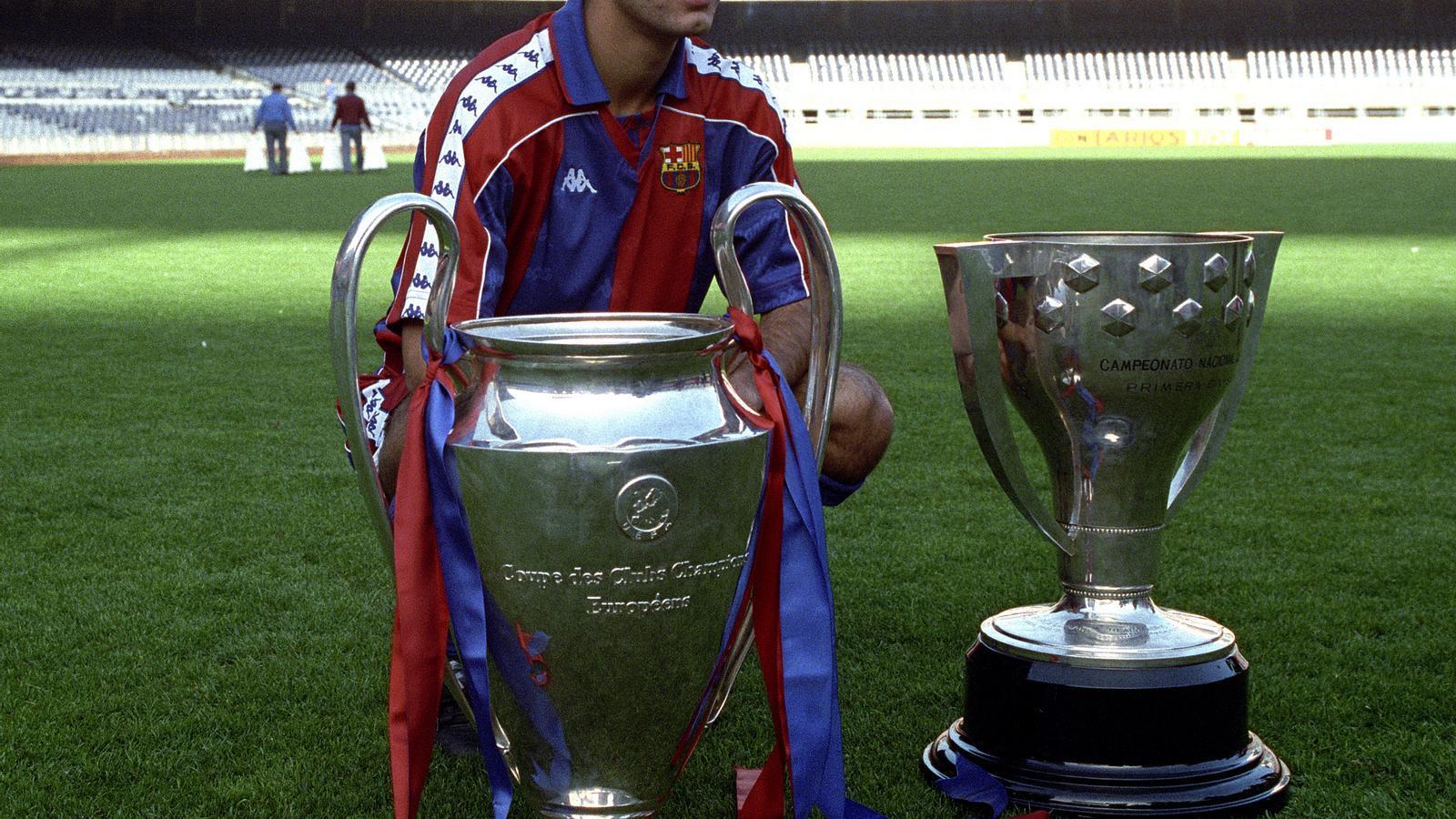 Pep Guardiola, el 1992, amb la Lliga i la Champions
