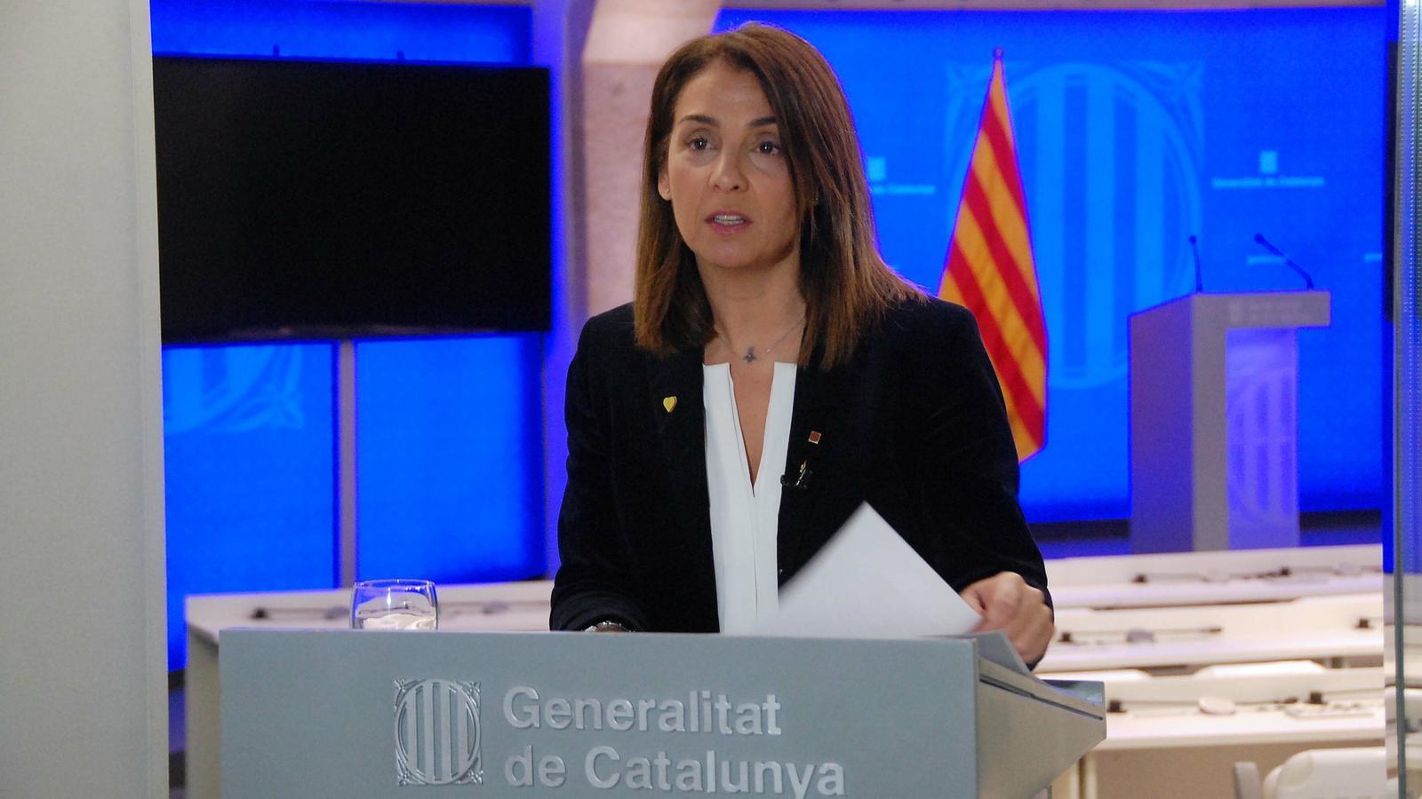 La portaveu del Govern, Meritxell Budó, durant la compareixença d'aquest dilluns.