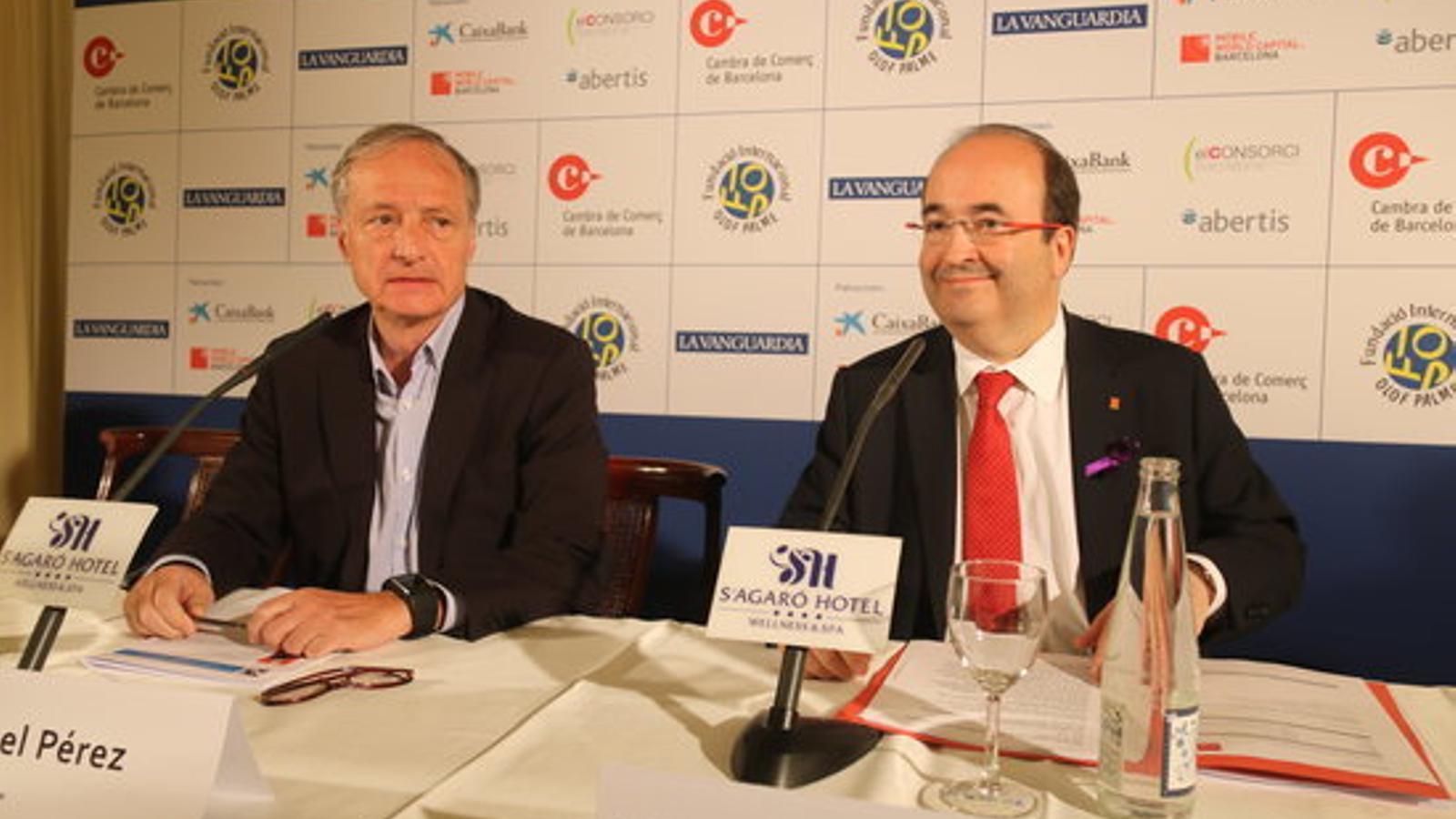 El primer secretari del PSC, Miquel Iceta, durant la seva intervenció a la XXII Trobada d'Economia de S'Agaró