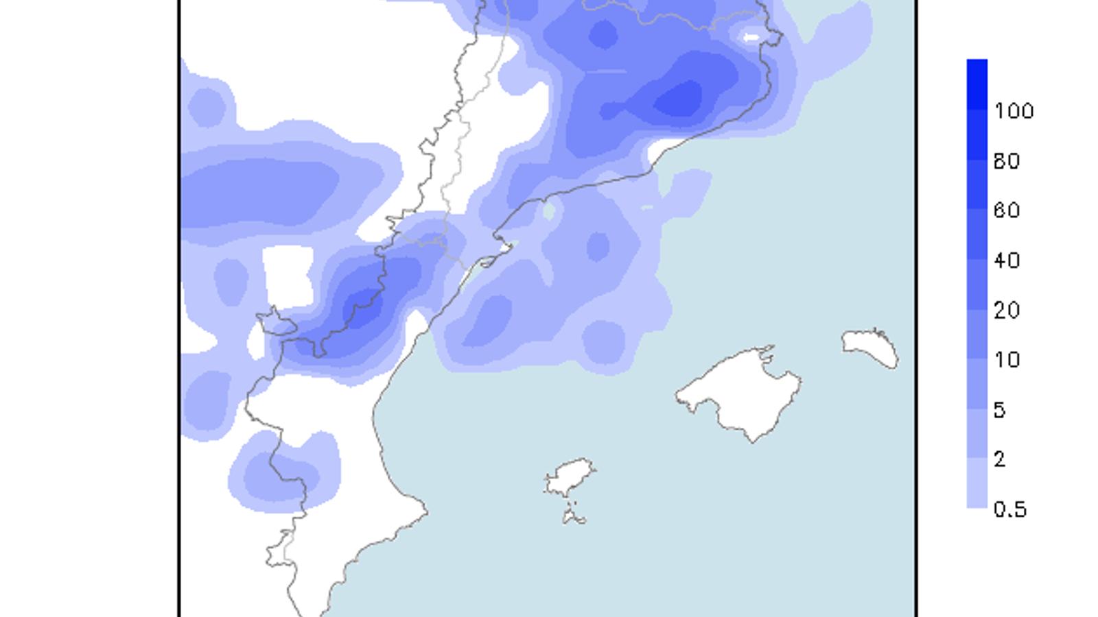 Precipitació acumulada prevista per avui dissabte / Model GFS 0.25 / ARA méteo