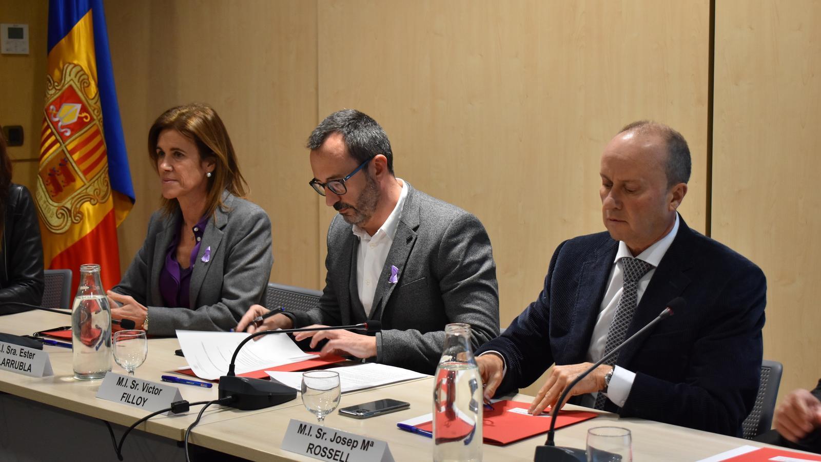 Els ministres Ester Vilarrubla, Víctor Filloy i Josep Maria Rosell. / M. R. F.