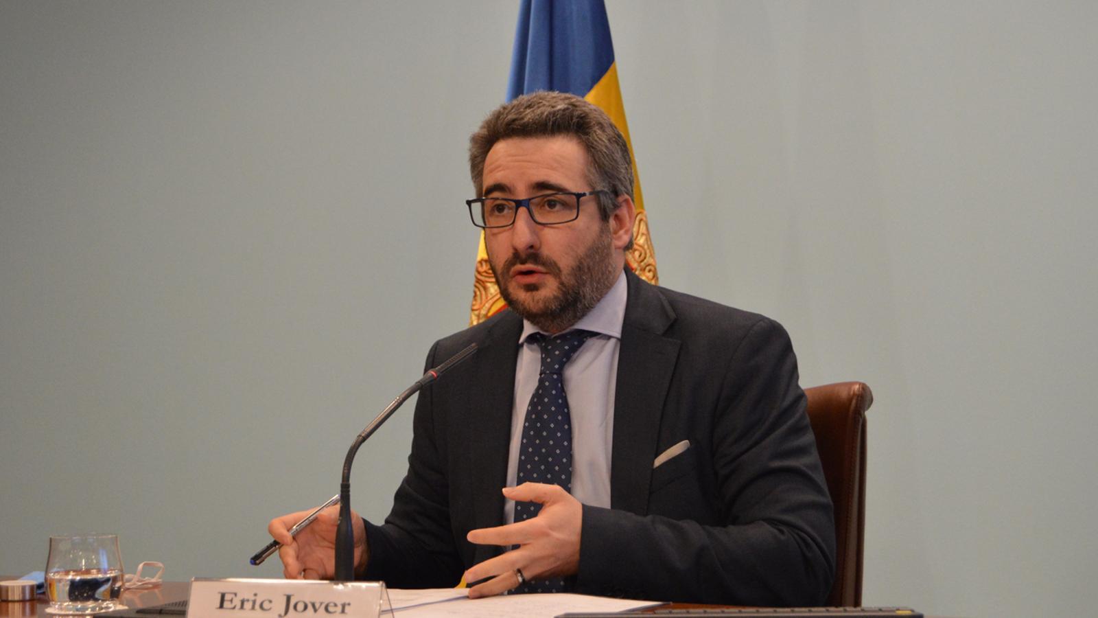 El ministre portaveu, Eric Jover, durant la roda de premsa d'aquest dimecres a la tarda. / M. F. (ANA)