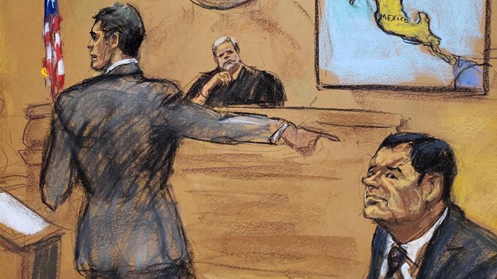 Dibuix de Jane Rosenberg on apareix assegut 'El Chapo' amb el fiscal i el jutge
