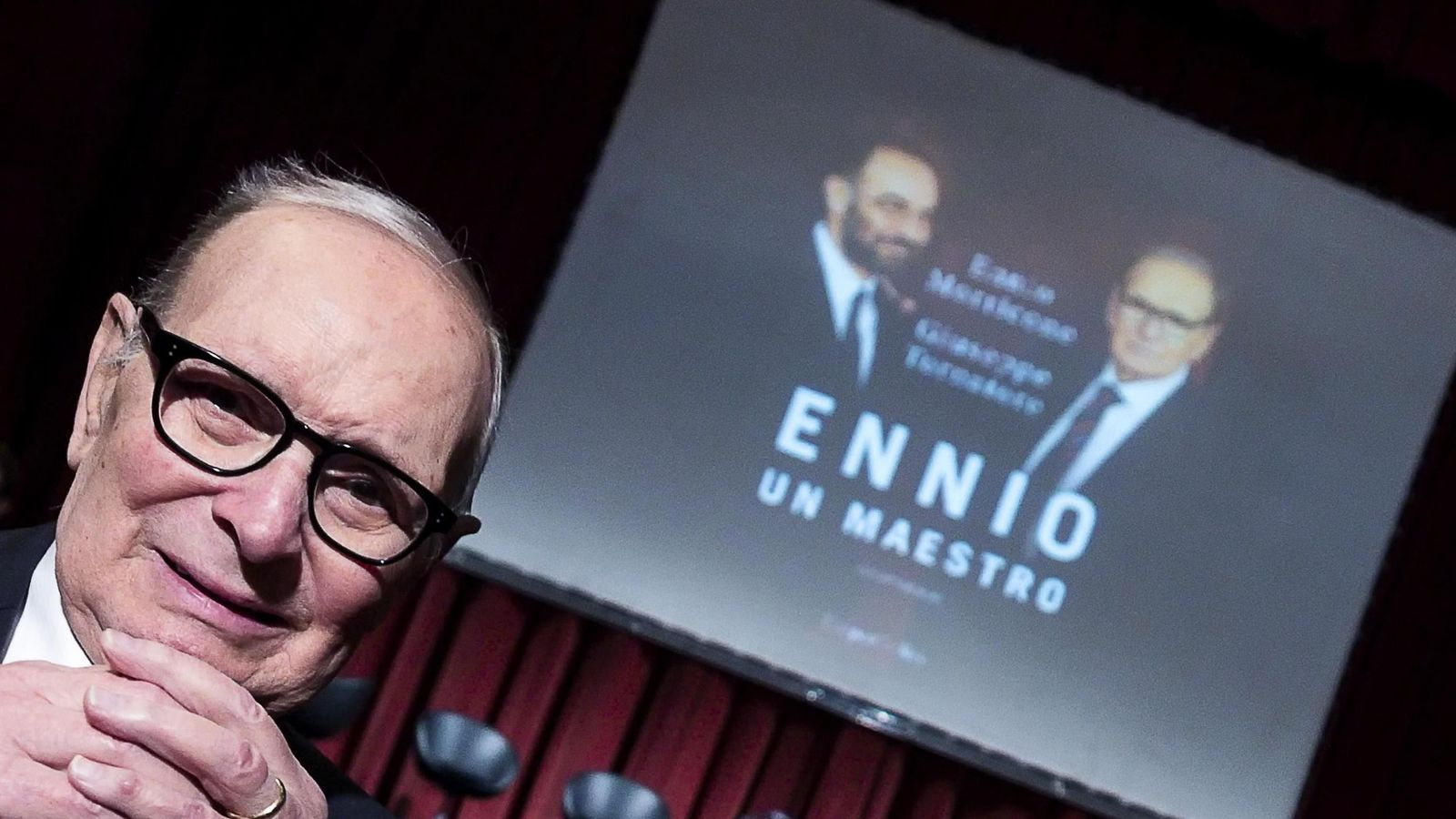 Ennio Morricone, a la presentació del llibre 'Ennio. Un maestro', en què conversa amb Giuseppe Tornatore, director de 'Cinema Paradiso'