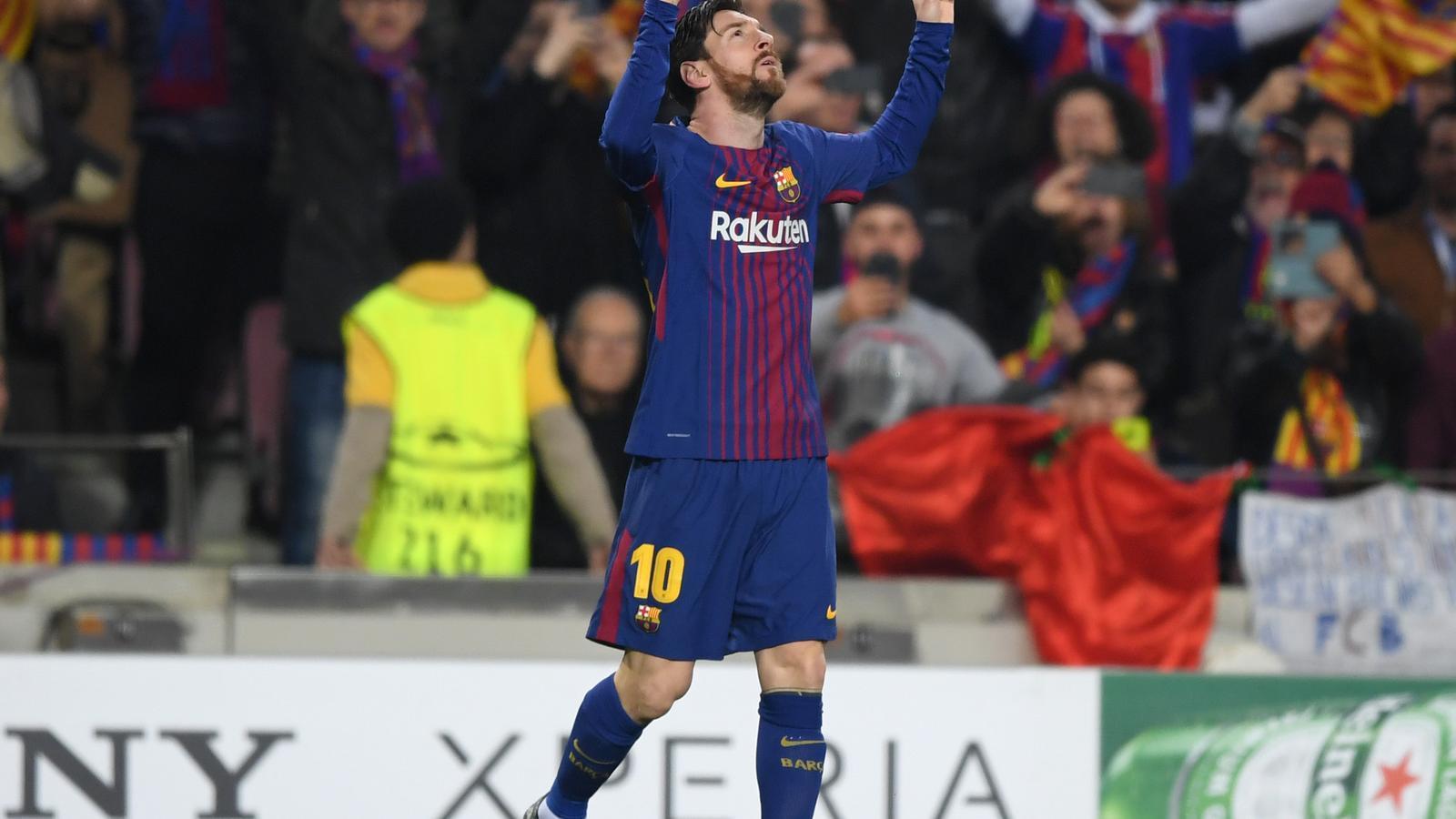 Celebració de Leo Messi contra el Chelsea