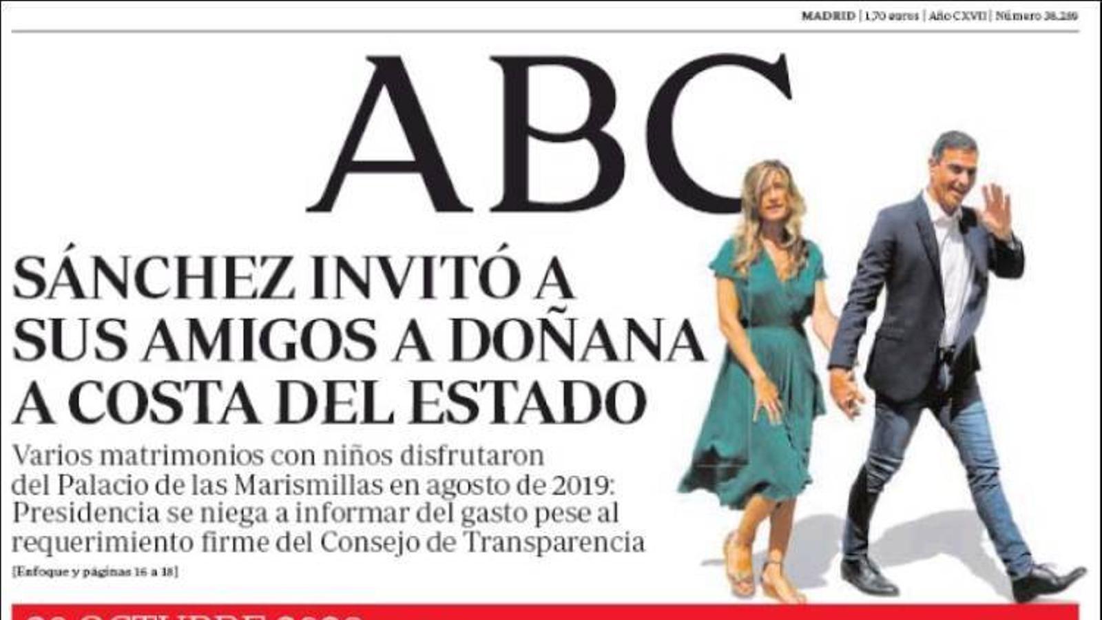 La portada de l''ABC' del 28 d'octubre de 2020