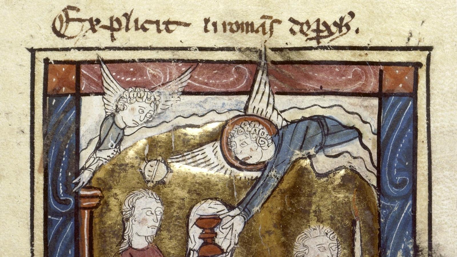 Perceval, agenollat al davant de la donzella que porta el graal, en un manuscrit de finals del segle XIII