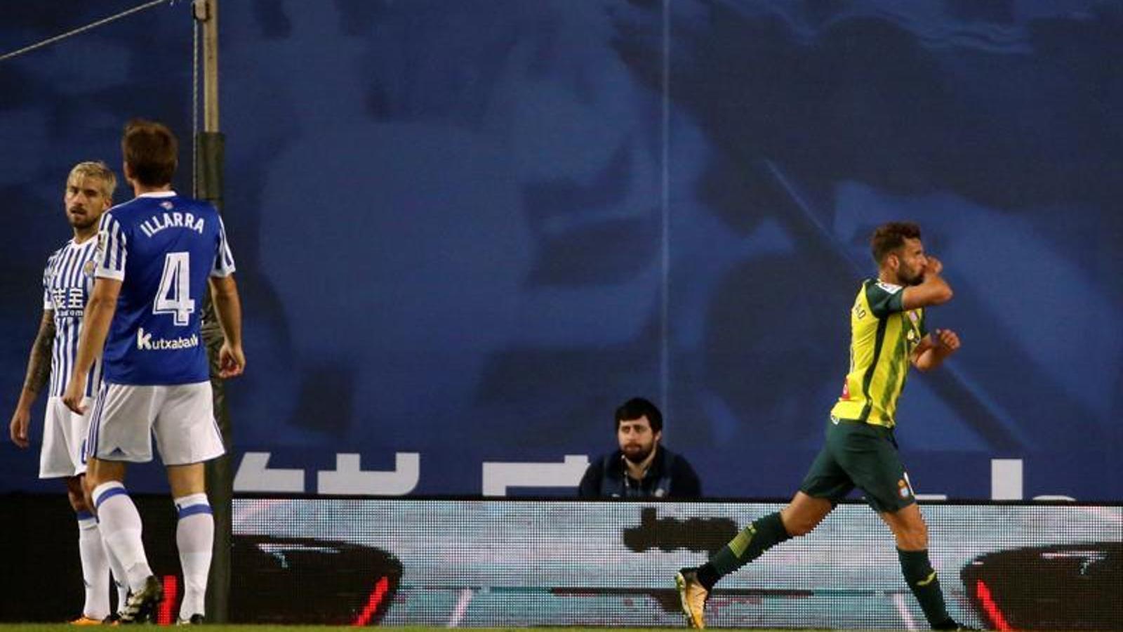 Baptistao, celebrant el gol a Anoeta