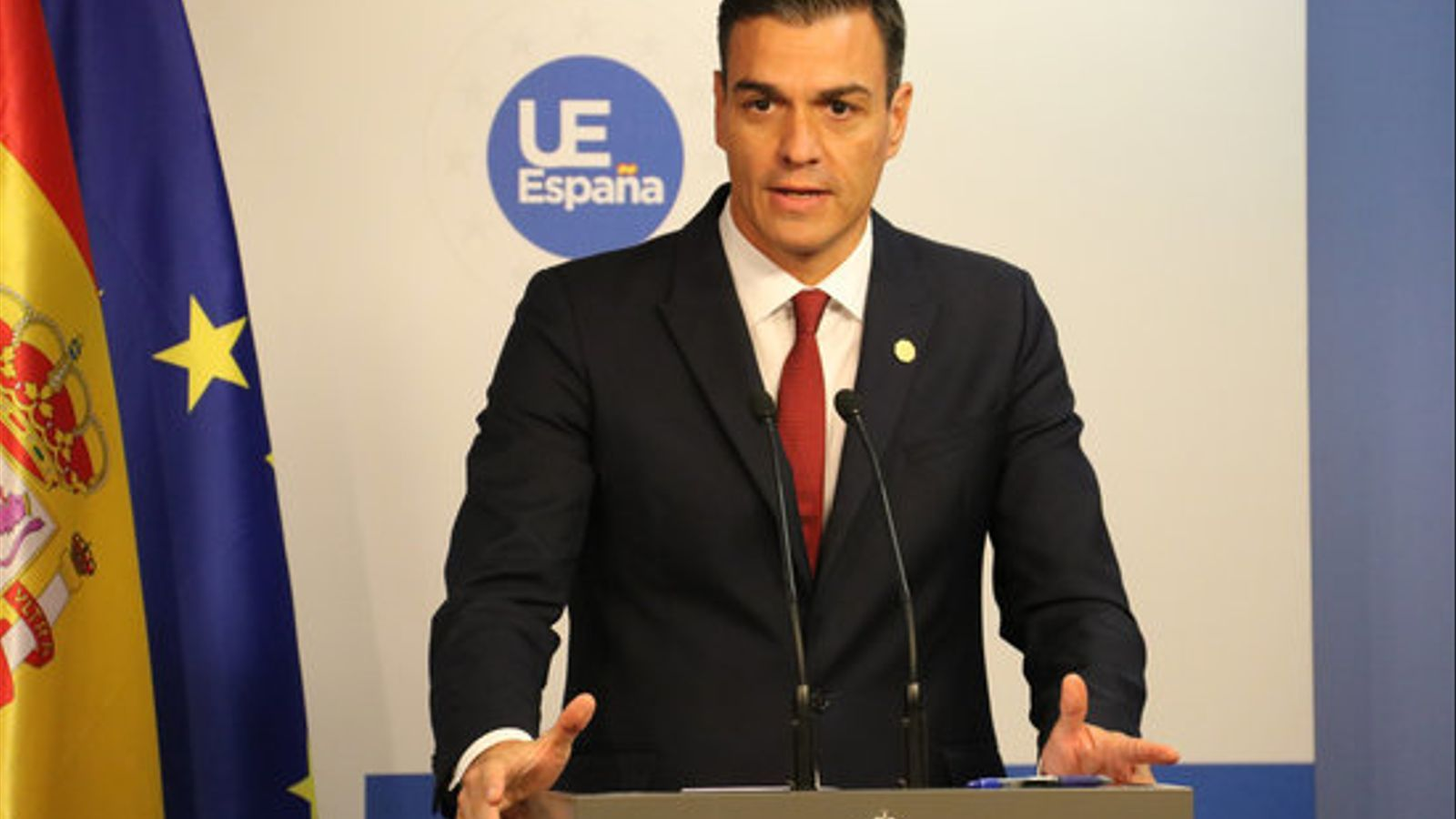 El president del govern espanyol, Pedro Sánchez, en roda de premsa des de Brussel·les
