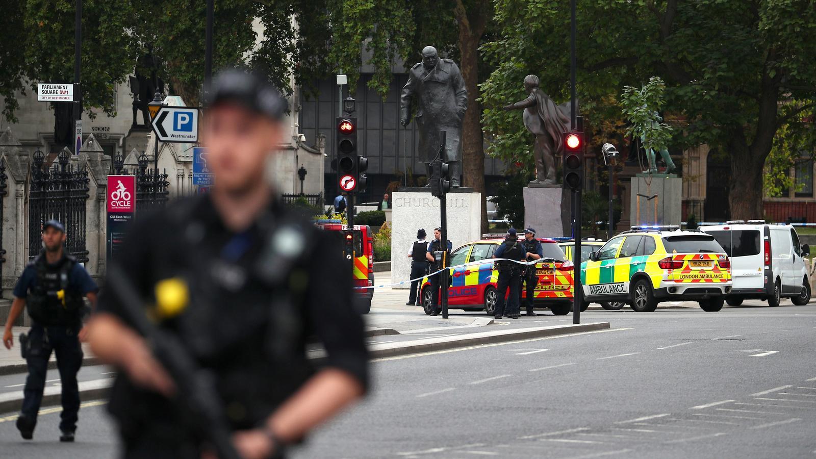 Un policia armat vigila la perifèria del Parlament britànic, després que un cotxe s'hagi estavellat contra les tanques de segureta