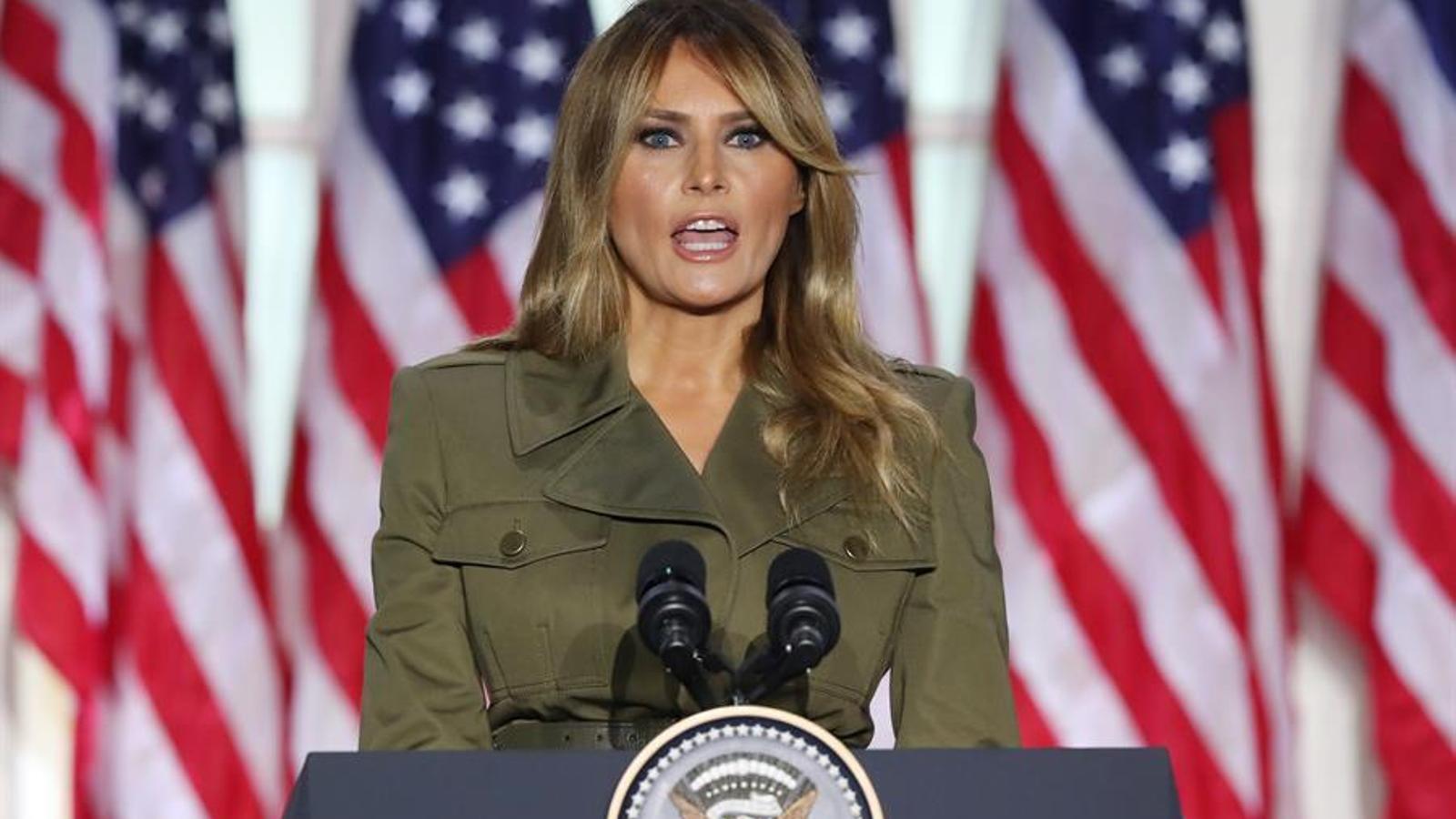 La primera dama dels Estats Units, Melania Trump, durant la seva intervenció durant la segona jornada de la convenció republicana