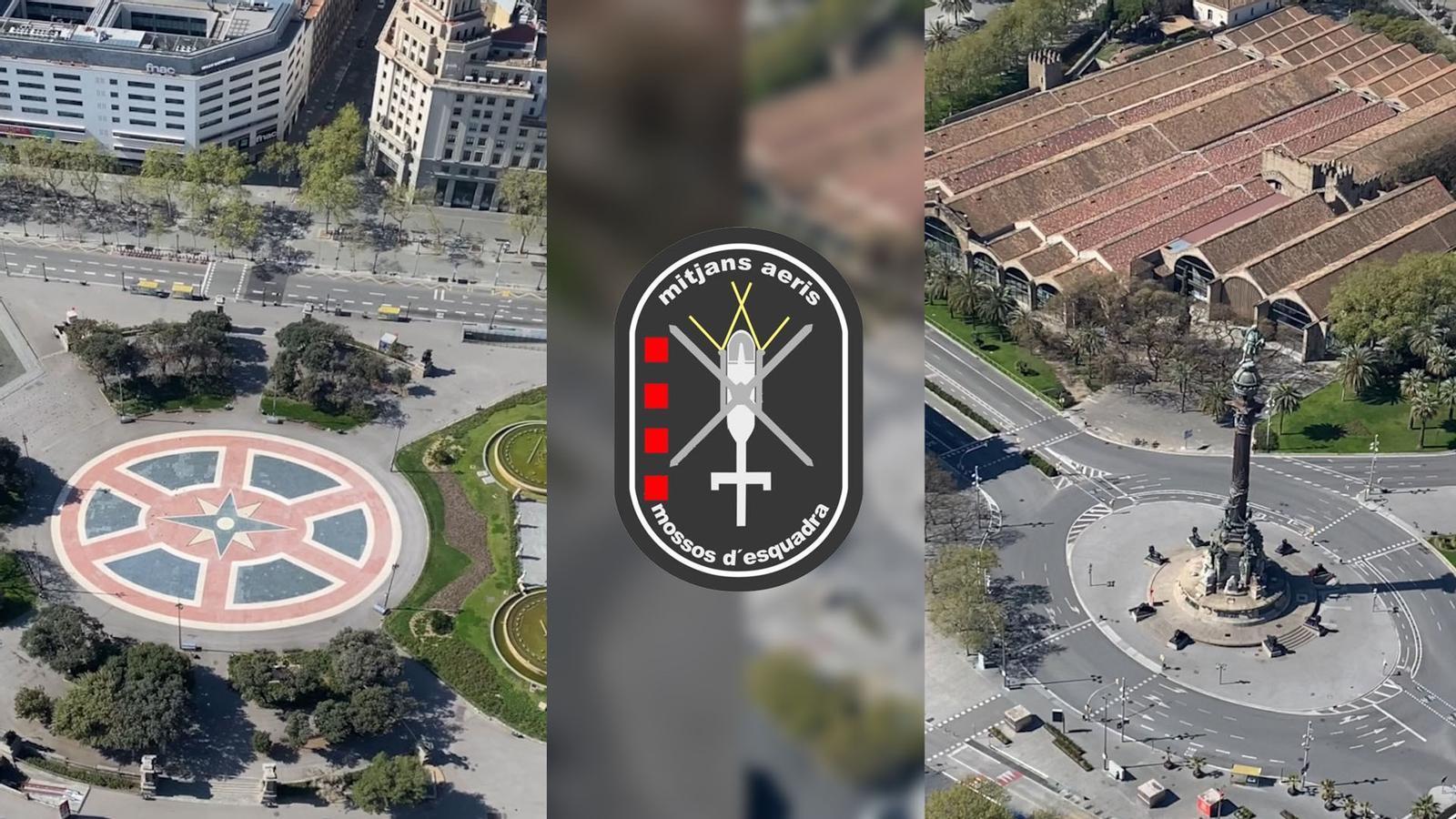 La Barcelona buida vista des de l'aire, amb imatges de l'helicòpter dels Mossos