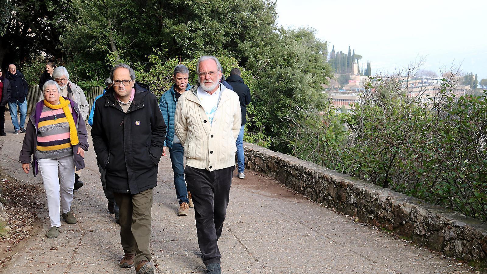 El president de la Generalitat, Quim Torra, passejant pel camí de Sant Miquel fins a Montserrat.