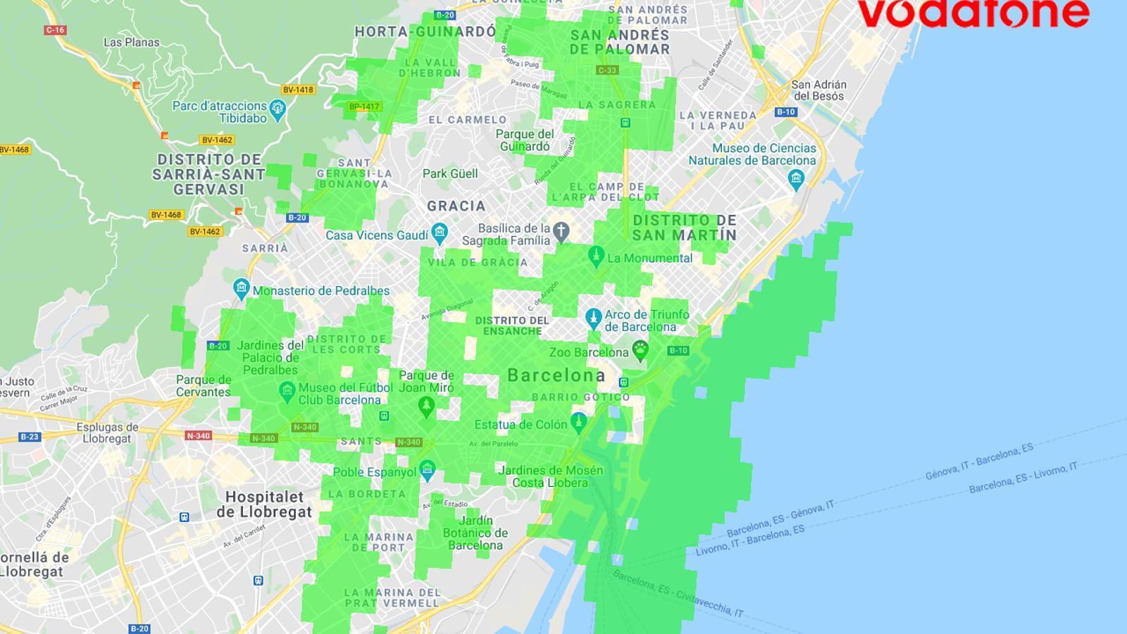 La cobertura de 5G de Vodafone a Barcelona