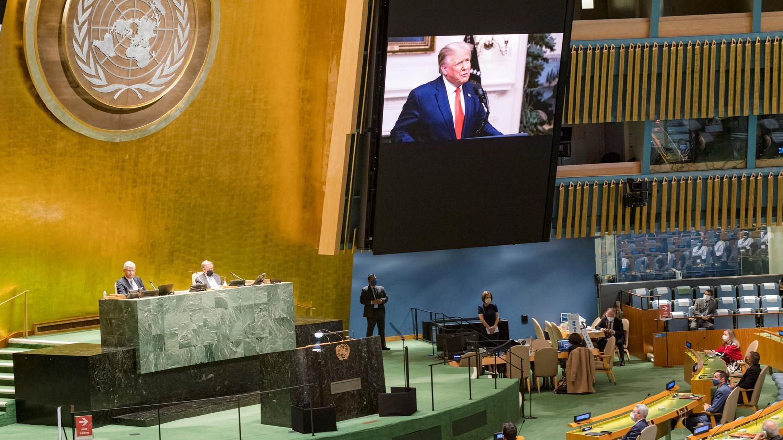 Donald Trump en el seu discurs pregravat davant de l'Assemblea General de l'ONU que aquest 2020 s'ha celebrat de forma virtual.
