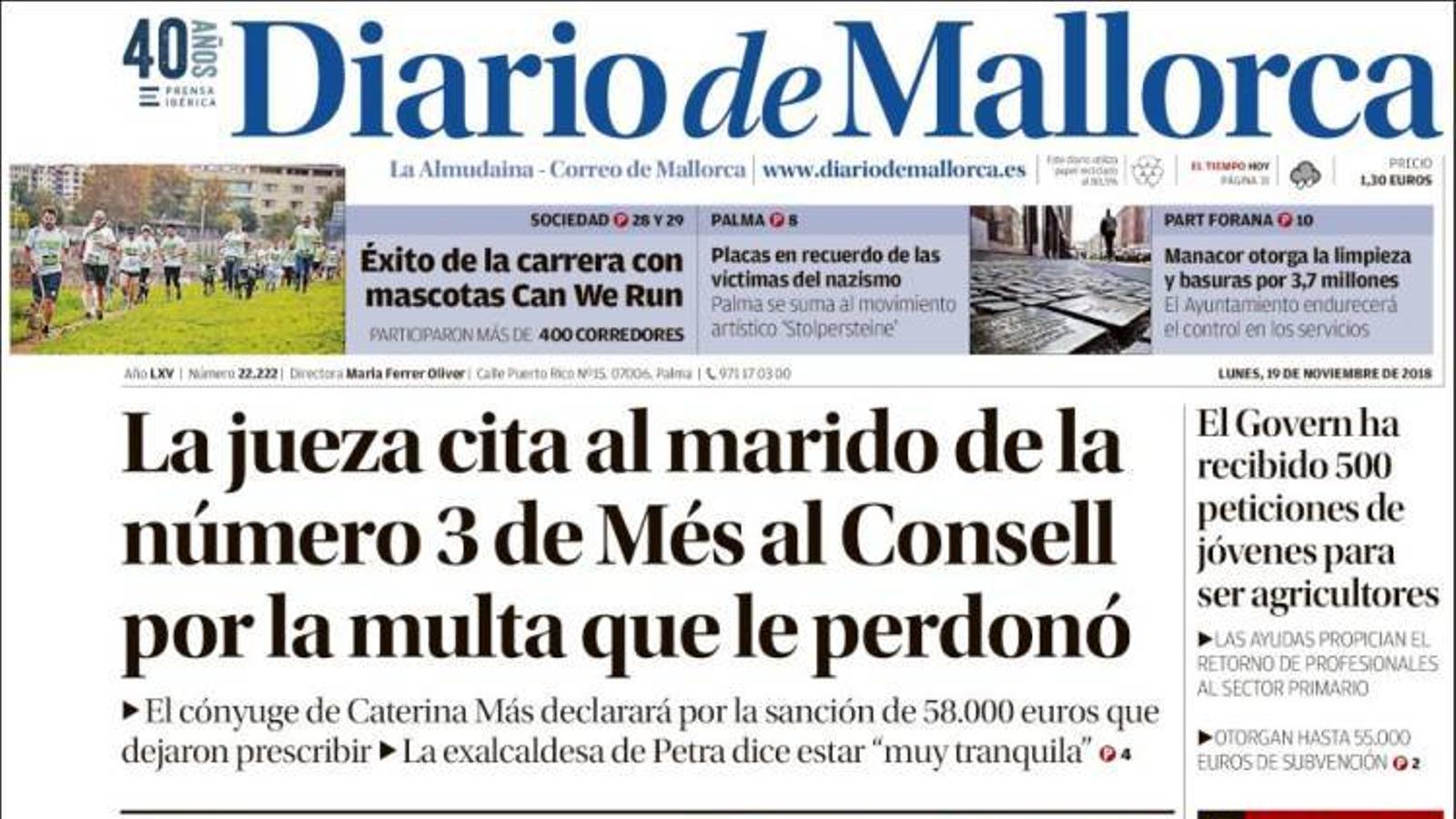 """""""Queixes policials per l'escassedat de mitjans per protegir les maltractades"""", portada de l''Última Hora'"""