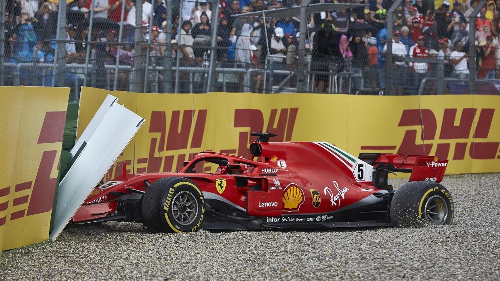 Sebastian Vettel, després de xocar contra el mur a Hockenheim