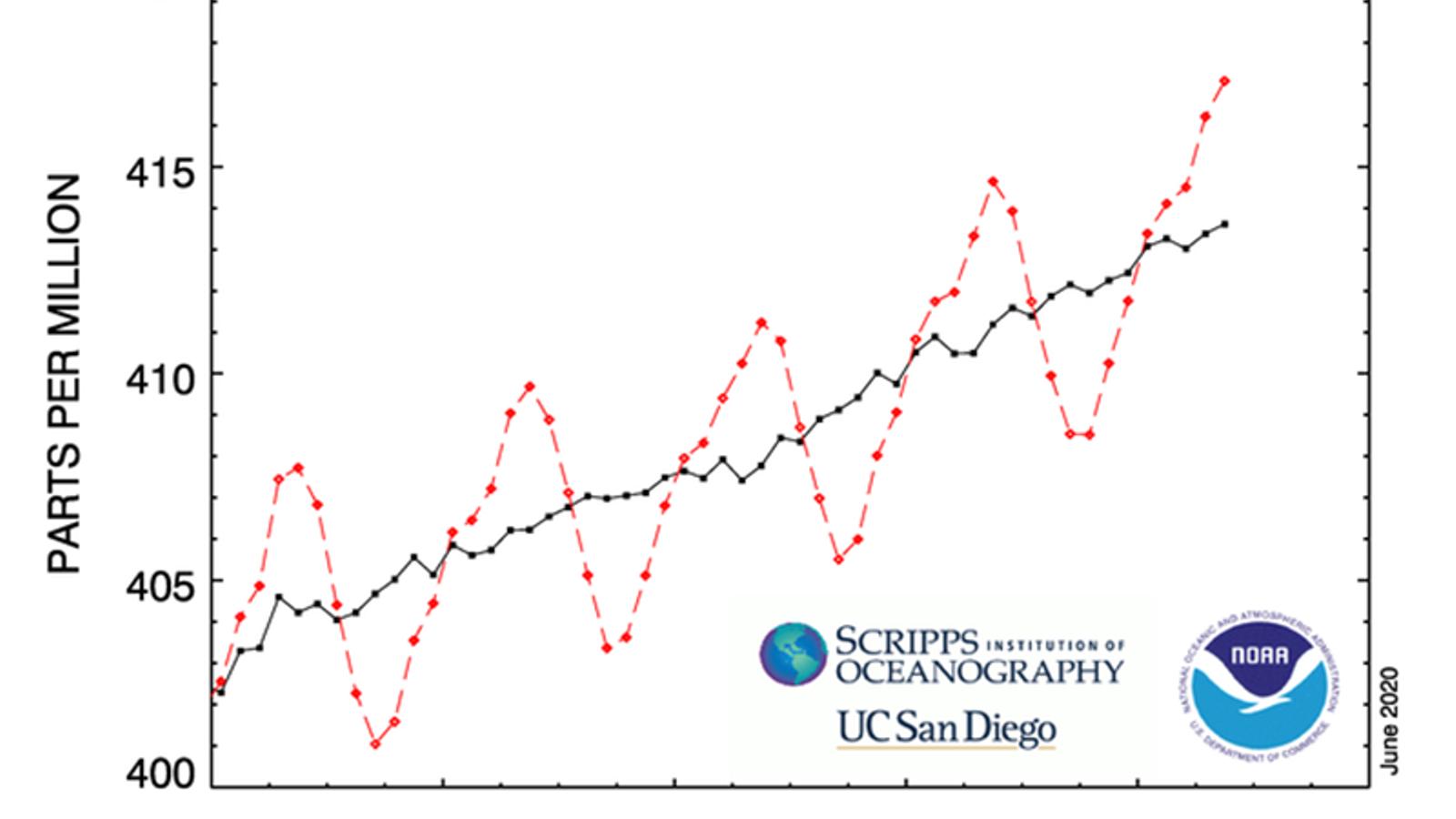 Evolució dels nivells de CO2 a Mauna Loa durant els últims anys