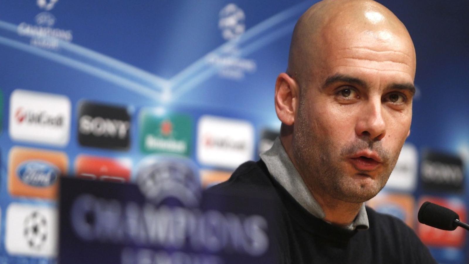Pep Guardiola durant la roda de premsa prèvia al partit contra el Bayer Leverkusen