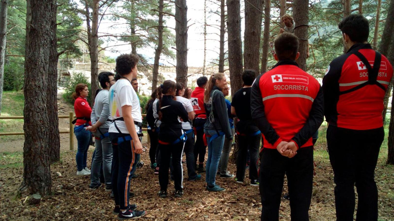 Personal de la Creu Roja en una activitat amb voluntaris. / CREU ROJA