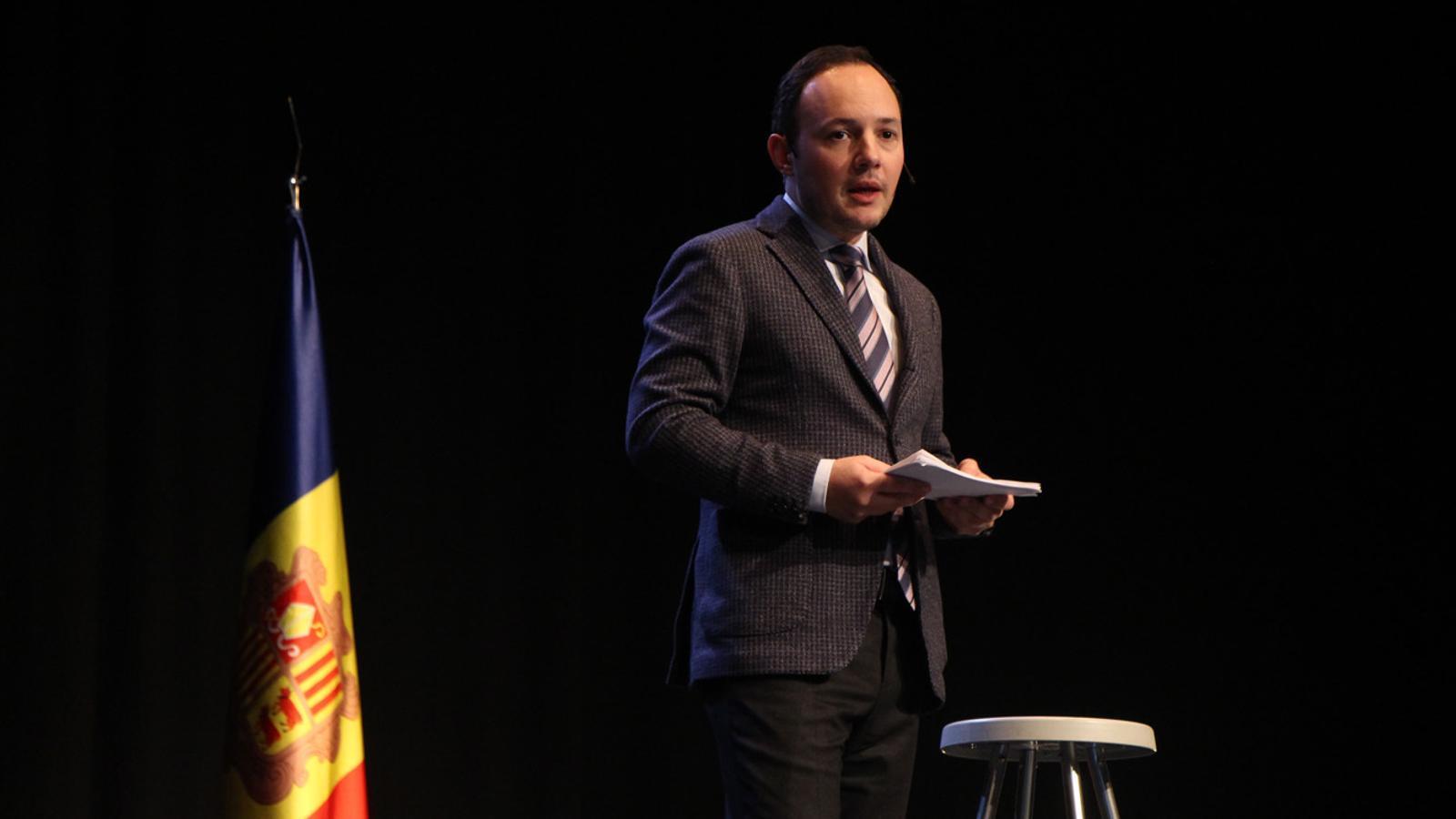 Xavier Espot en l'acte de presentació de la campanya per a les eleccions generals. / T. N. (ANA)
