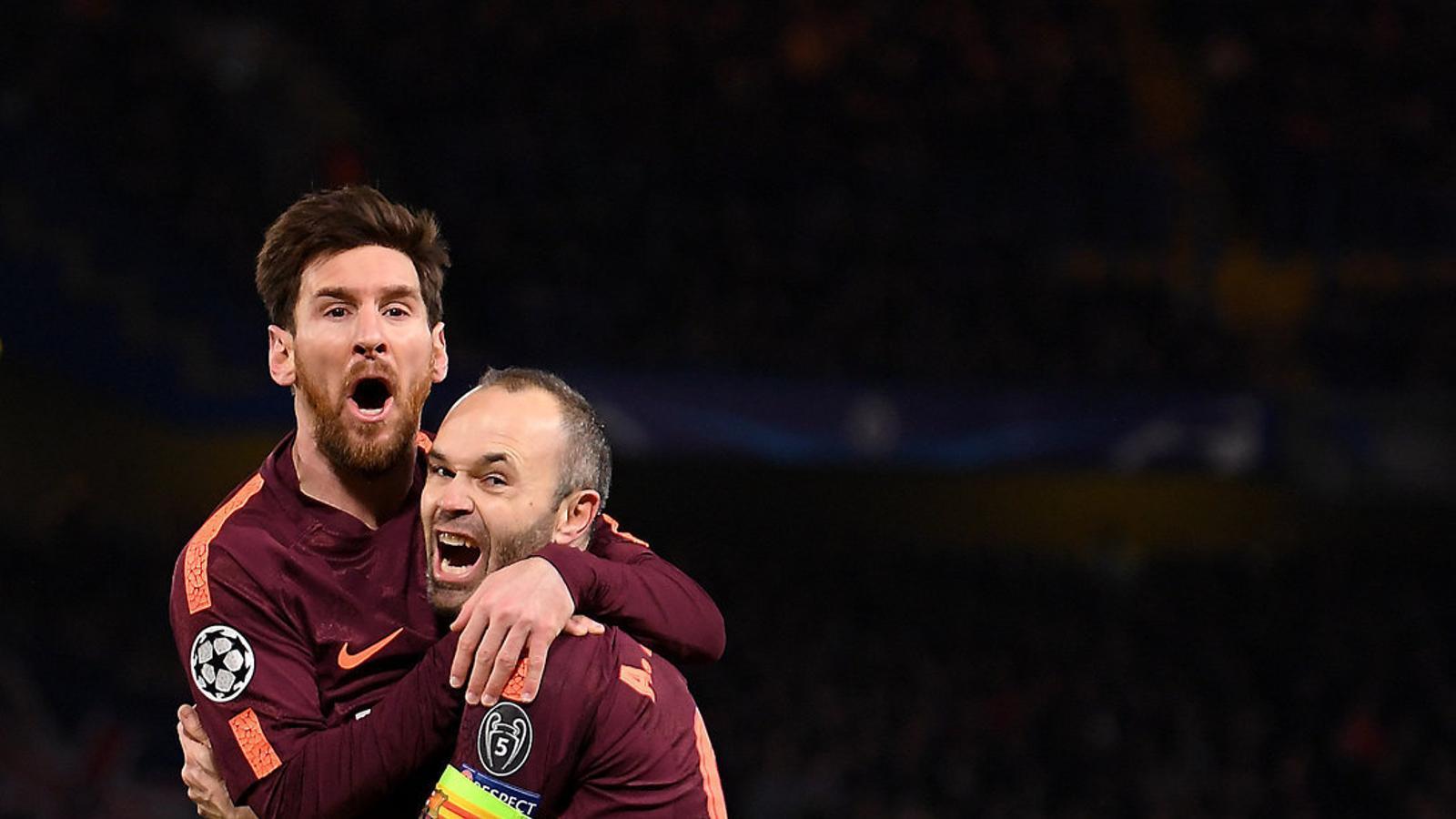 Messi i Iniesta celebrant el gol de l'empat del Barça en el duel contra el Chelsea.
