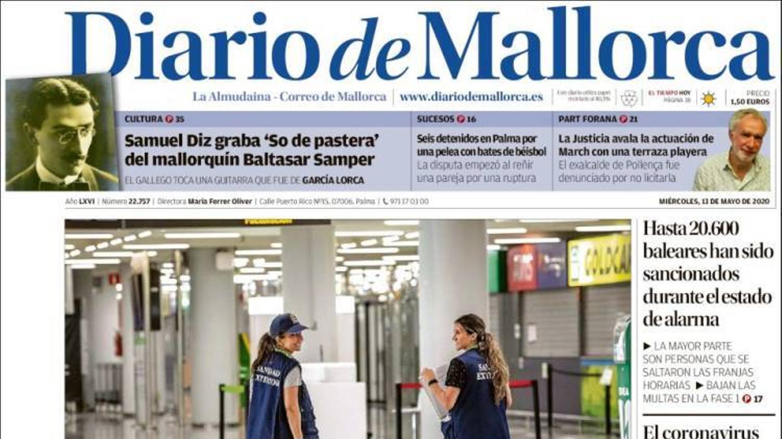 """""""Sánchez indigna al Govern en """"imposar"""" una quarantena als turistes estrangers"""", portada de 'Diario de Mallorca'"""