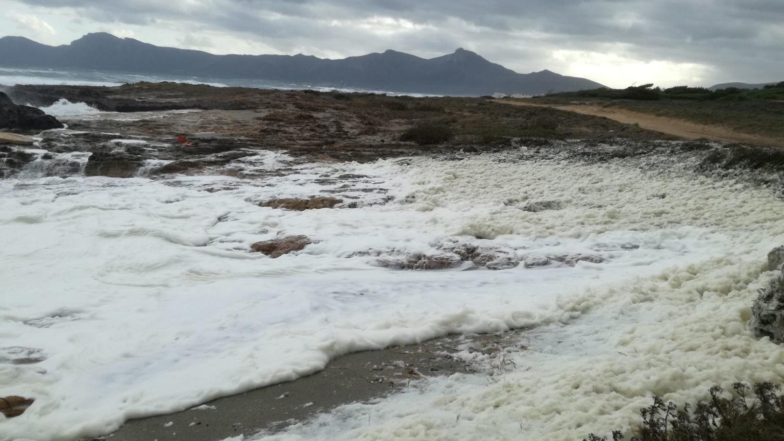L'escuma ha omplert la zona de penyes i gran part de l'arenal de Son Serra.
