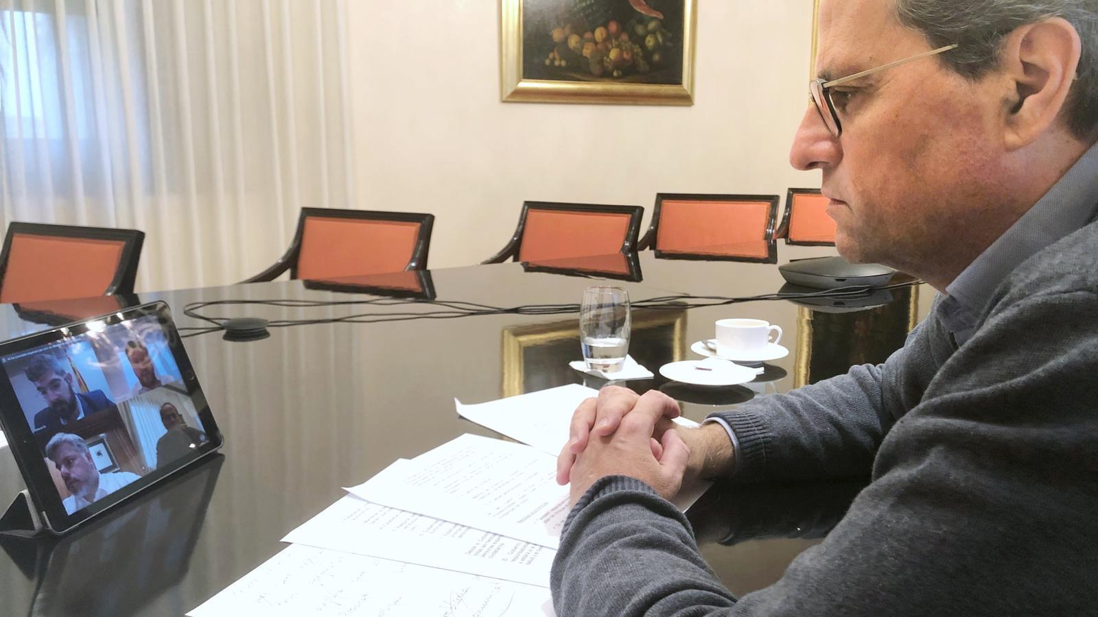 El president de la Generalitat, Quim Torra, aquest dilluns durant la reunió per videoconferència amb els grups parlamentaris