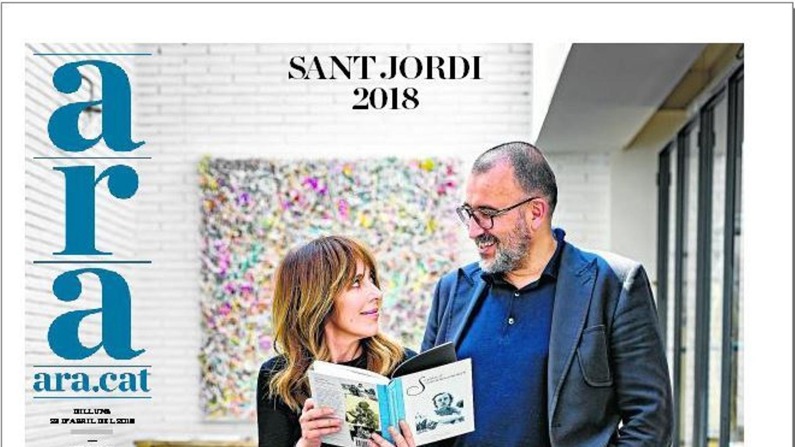 La portada de l'ARA pel diari de dilluns 23 d'abril, Sant jordi