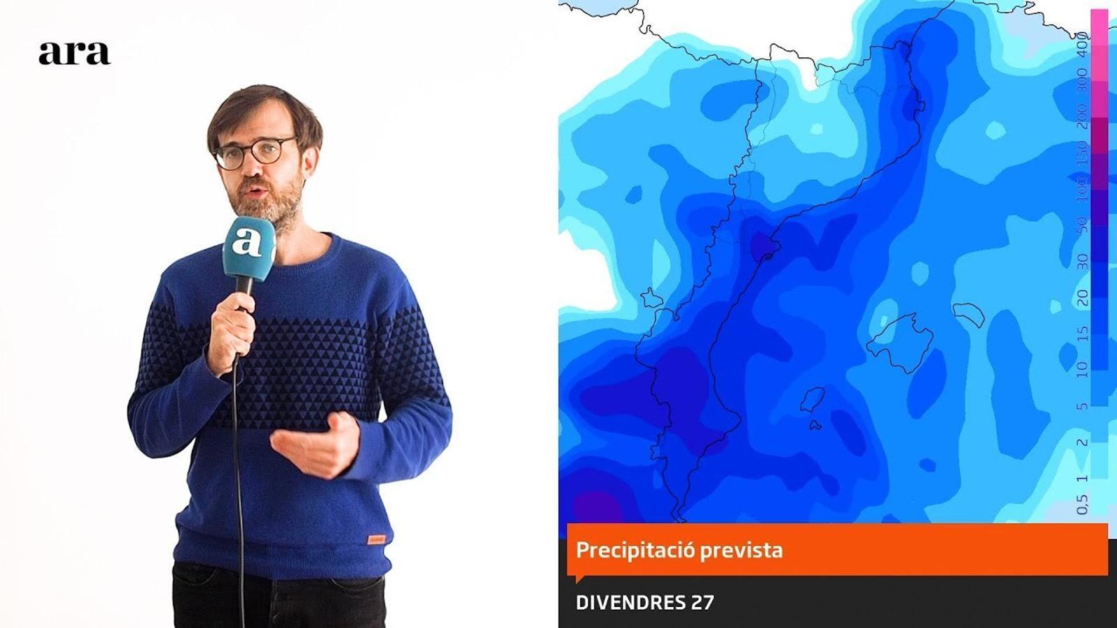 La méteo: temporal de pluja i vent en l'inici del cap de setmana
