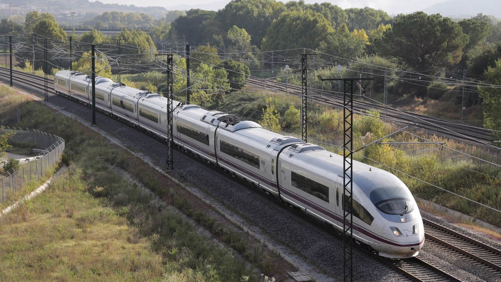 Comboi de l'AVE aturat entre Breda i Hostalric. / DAVID BORRAT