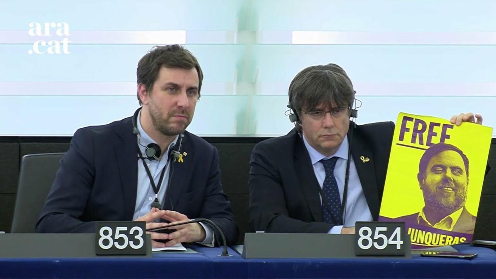 El president del Parlament, David Sassoli, presenta a Puigdemont i Comín com a eurodiputats al Parlament Europeu