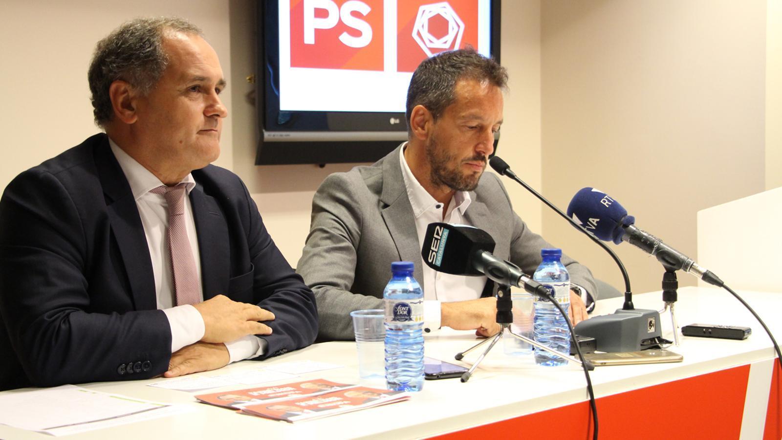 Paulo Pisco i Pere López durant la roda de premsa celebrada aquest dijous. / M. P.