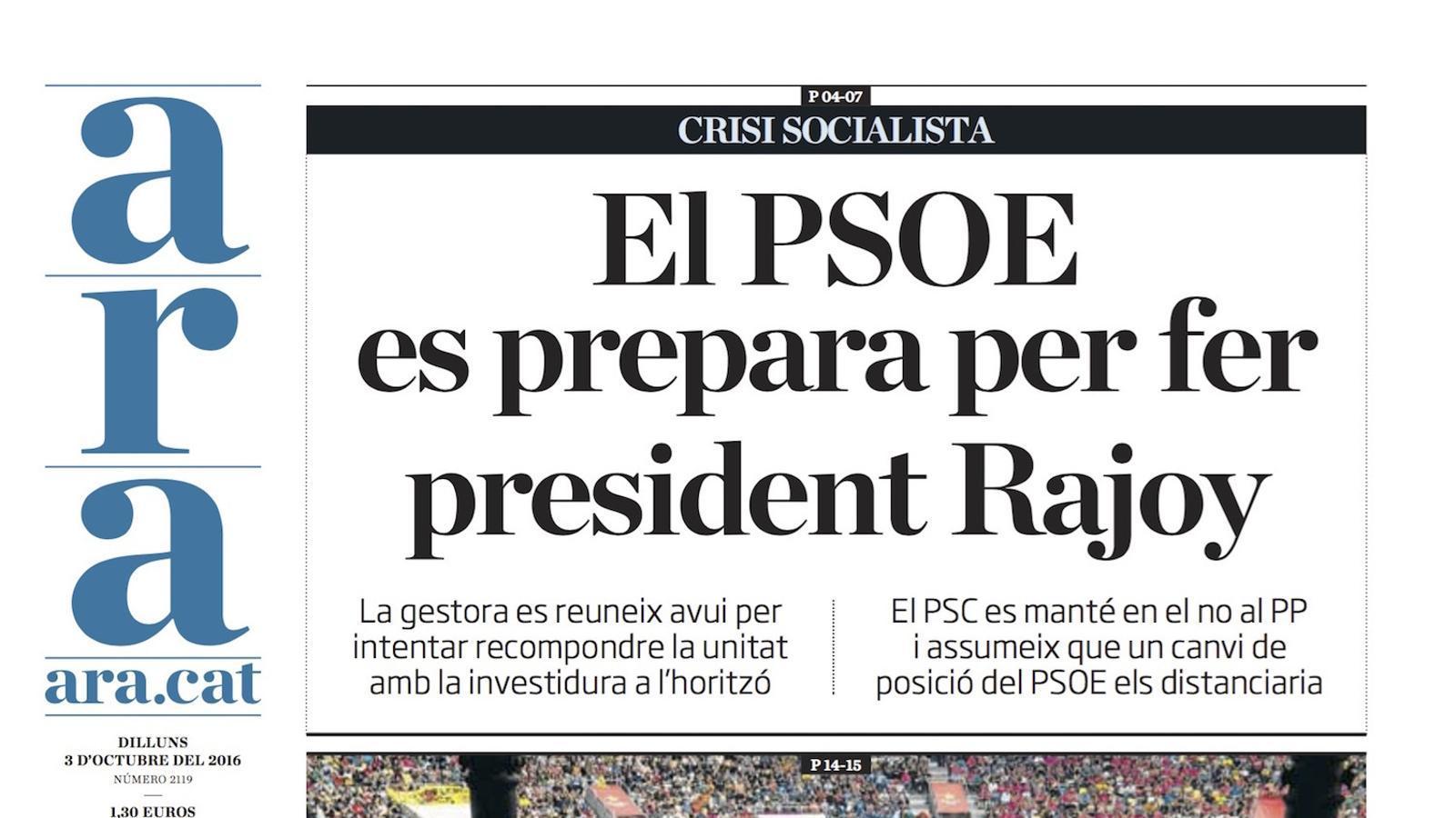 """""""El PSOE es prepara per fer president Rajoy"""", portada de l'ARA"""