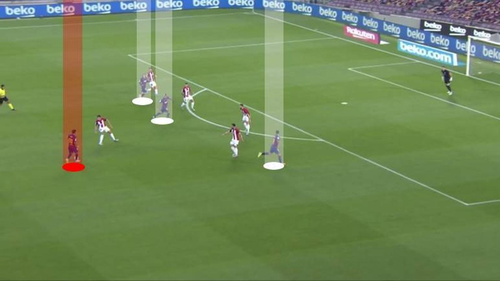 Messi atacant el penúltim i amb Suárez, Vidal i Griezmann per davant