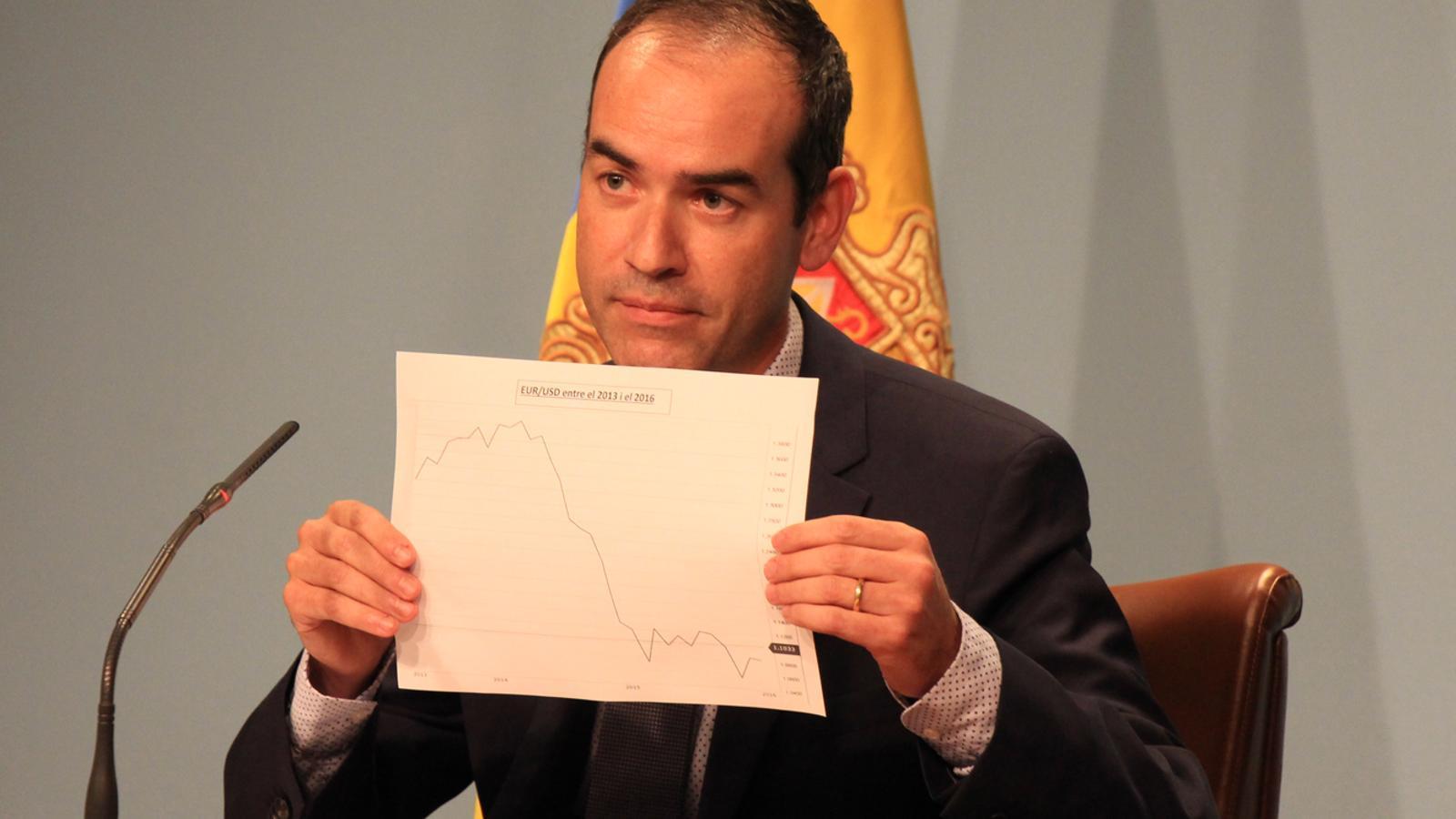 L'exministre Jordi Alcobé en la seva darrera roda de premsa / ANA